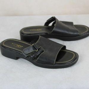 Liz Claiborne Villager Black Leather Slide Sandals
